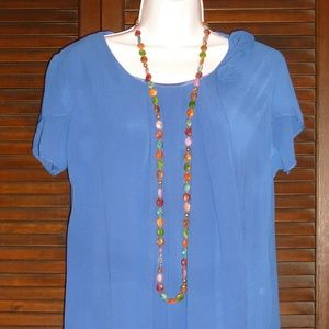 ROYAL BLUE BLOUSE Chiffon Pleated, Necklace, NEW M